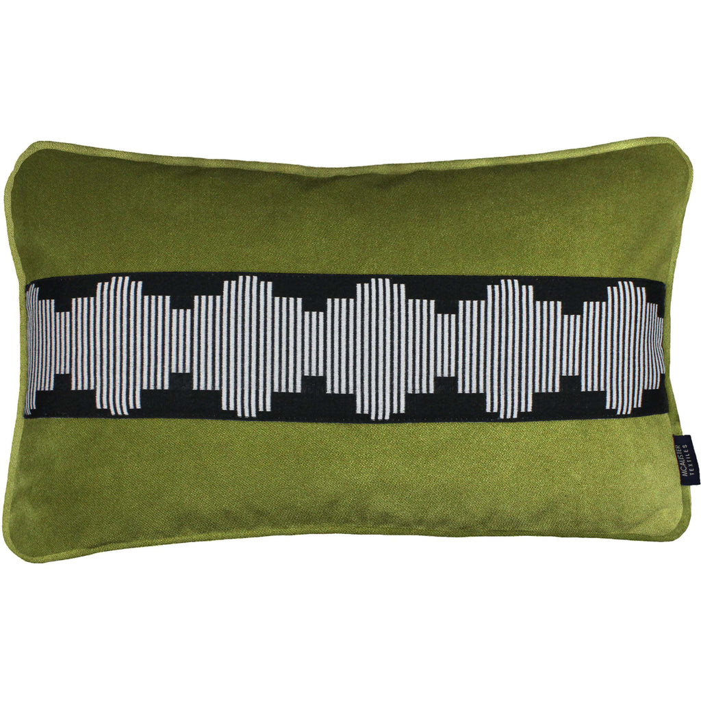 McAlister Textiles Maya Striped Lime Green Velvet Pillow Pillow Cover Only 50cm x 30cm
