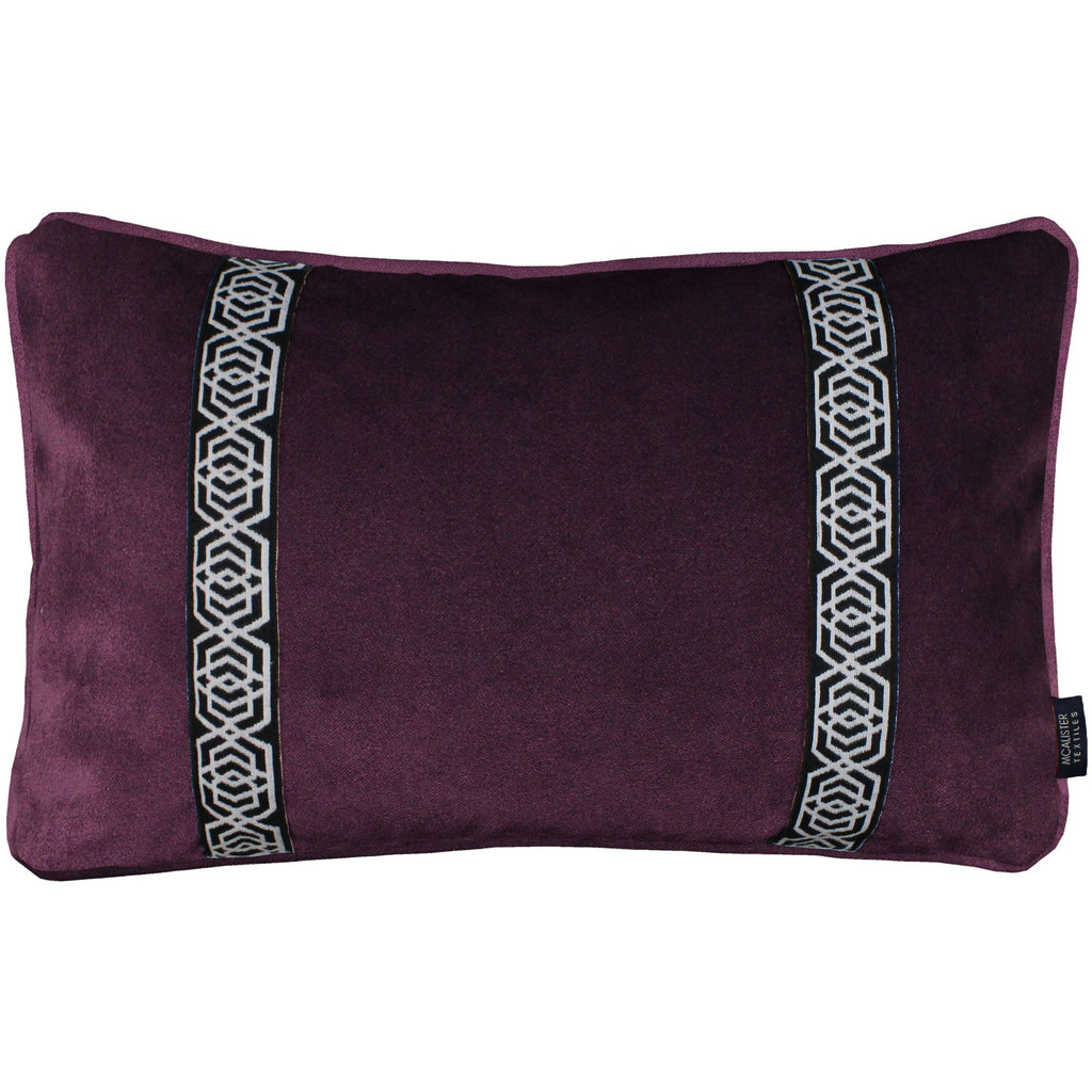 McAlister Textiles Coba Striped Aubergine Purple Velvet Cushion Cushions and Covers Cover Only 50cm x 30cm