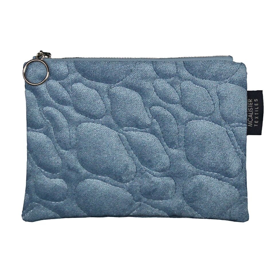 McAlister Textiles Pebble Pattern Blue Velvet Makeup Bag Clutch Bag
