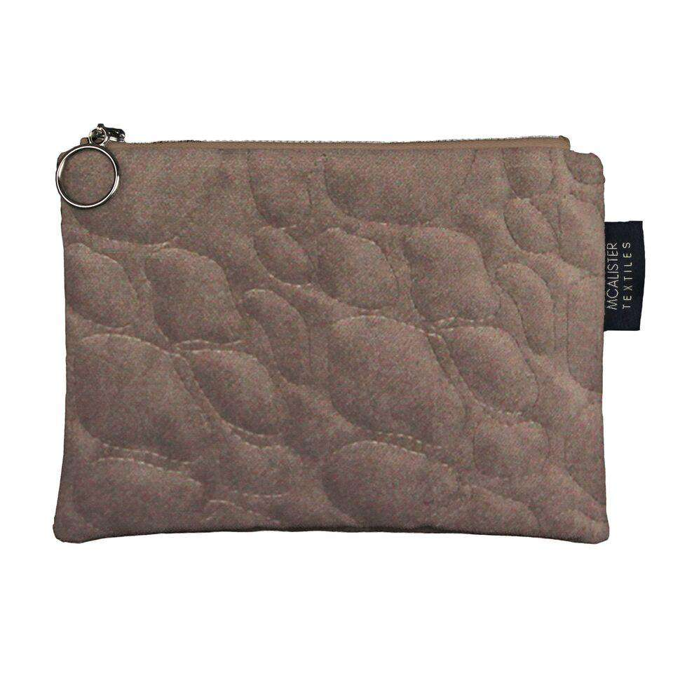 McAlister Textiles Pebble Pattern Mocha Velvet Makeup Bag Clutch Bag