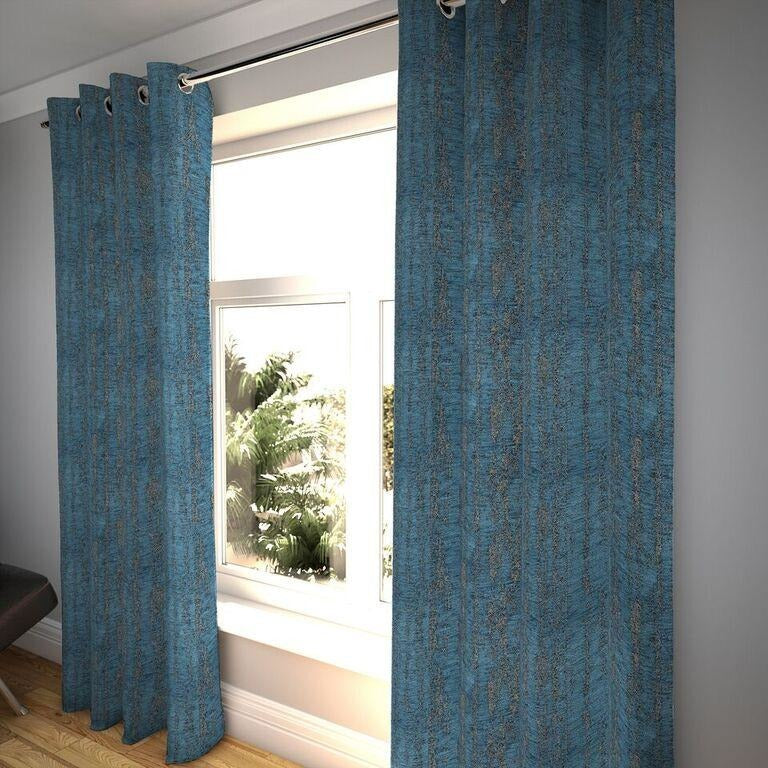 "McAlister Textiles Textured Chenille Denim Blue Curtains Tailored Curtains 116cm(w) x 182cm(d) (46"" x 72"")"