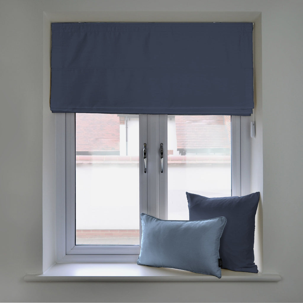 McAlister Textiles Rocco Faux Silk Navy Blue Blinds Roman Blinds Standard Lining 130cm x 200cm