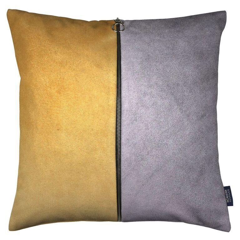 McAlister Textiles Decorative Double Zip Yellow + Grey Velvet Pillow Pillow Cover Only 43cm x 43cm