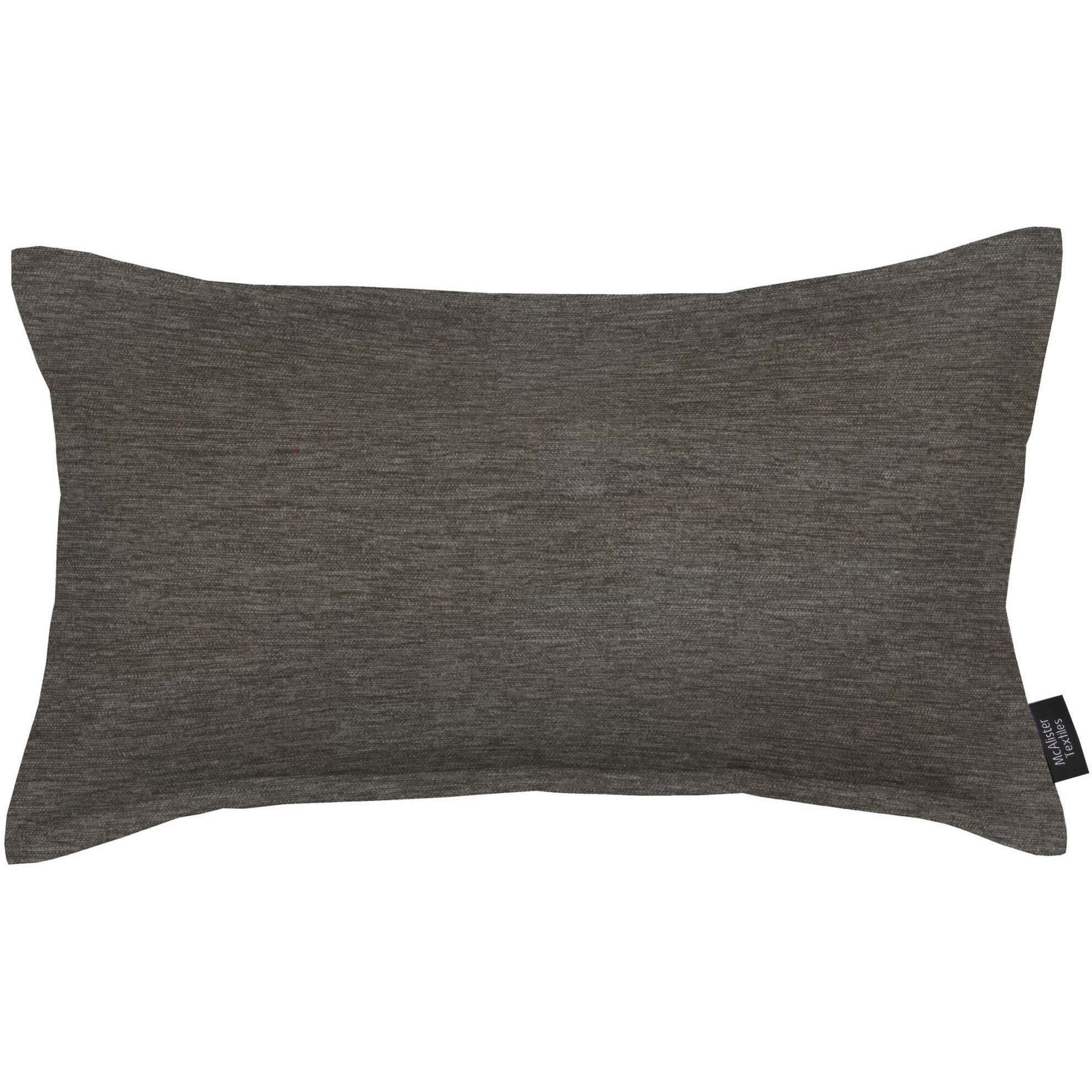 McAlister Textiles Plain Chenille Charcoal Grey Cushion Cushions and Covers Polyester Filler 60cm x 40cm