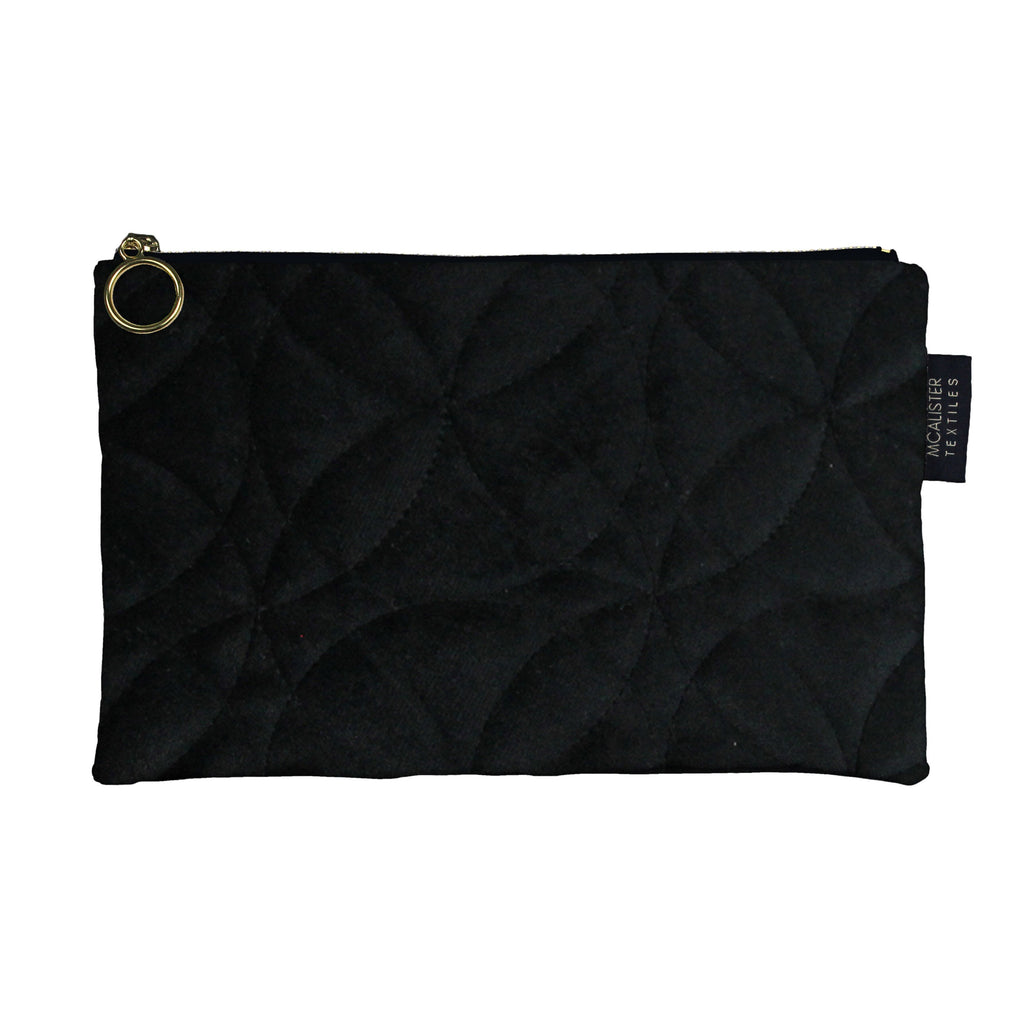 McAlister Textiles Circular Pattern Black Velvet Makeup Bag - Large Clutch Bag
