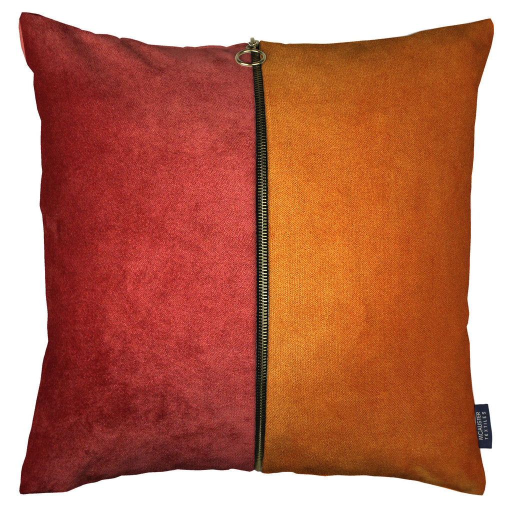 McAlister Textiles Decorative Zip Orange + Rust Red Velvet Cushion Cushions and Covers Cover Only 43cm x 43cm