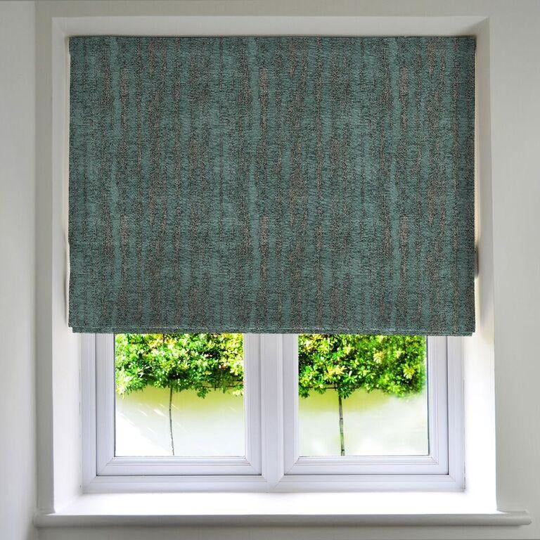 McAlister Textiles Textured Chenille Teal Roman Blinds Roman Blinds Standard Lining 130cm x 200cm