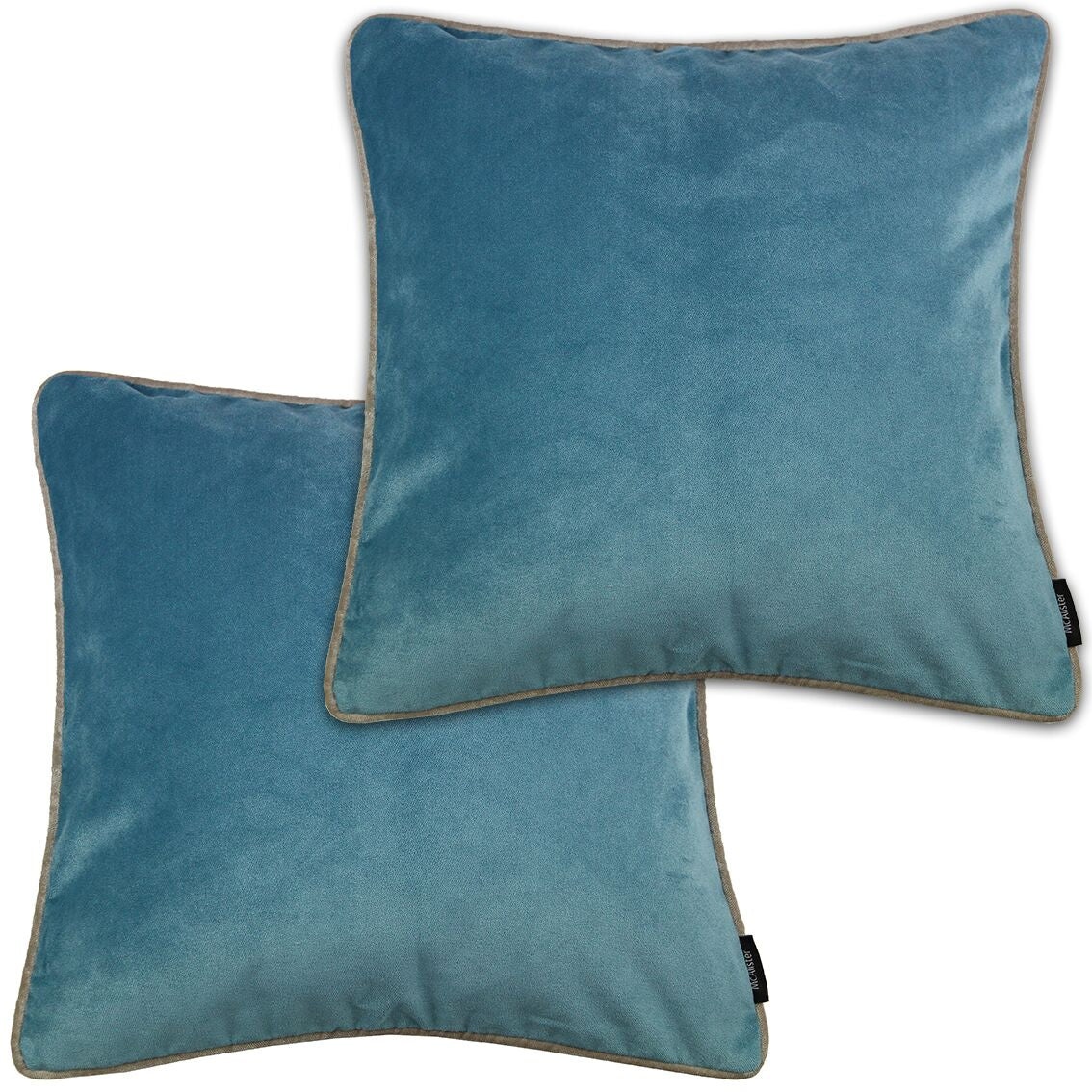 McAlister Textiles Matt Duck Egg Blue Velvet 43cm x 43cm Cushion Sets Cushions and Covers Cushion Covers Set of 2