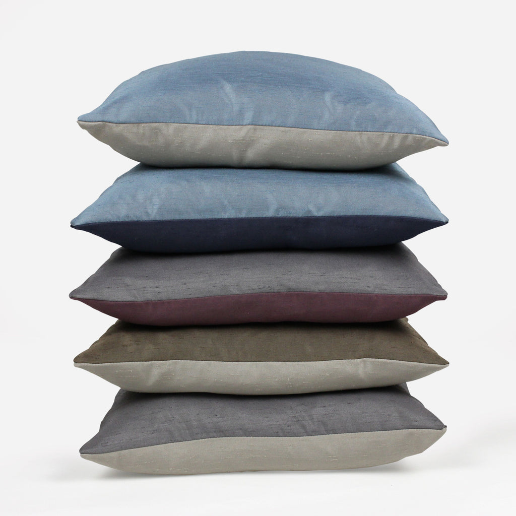 McAlister Textiles Rocco Contrast Faux Silk Purple + Grey Pillow Pillow