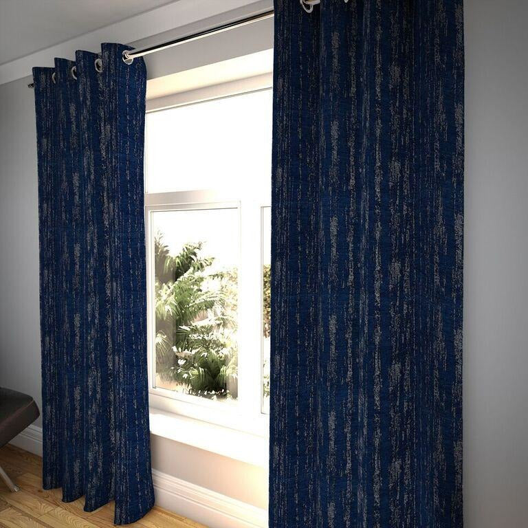 "McAlister Textiles Textured Chenille Navy Blue Curtains Tailored Curtains 116cm(w) x 182cm(d) (46"" x 72"")"