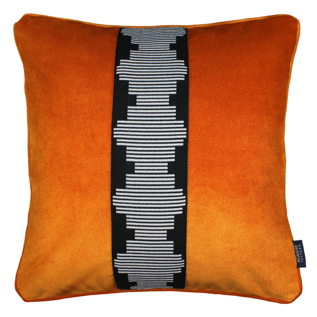 McAlister Textiles Maya Striped Burnt Orange Velvet Pillow Pillow Cover Only 43cm x 43cm