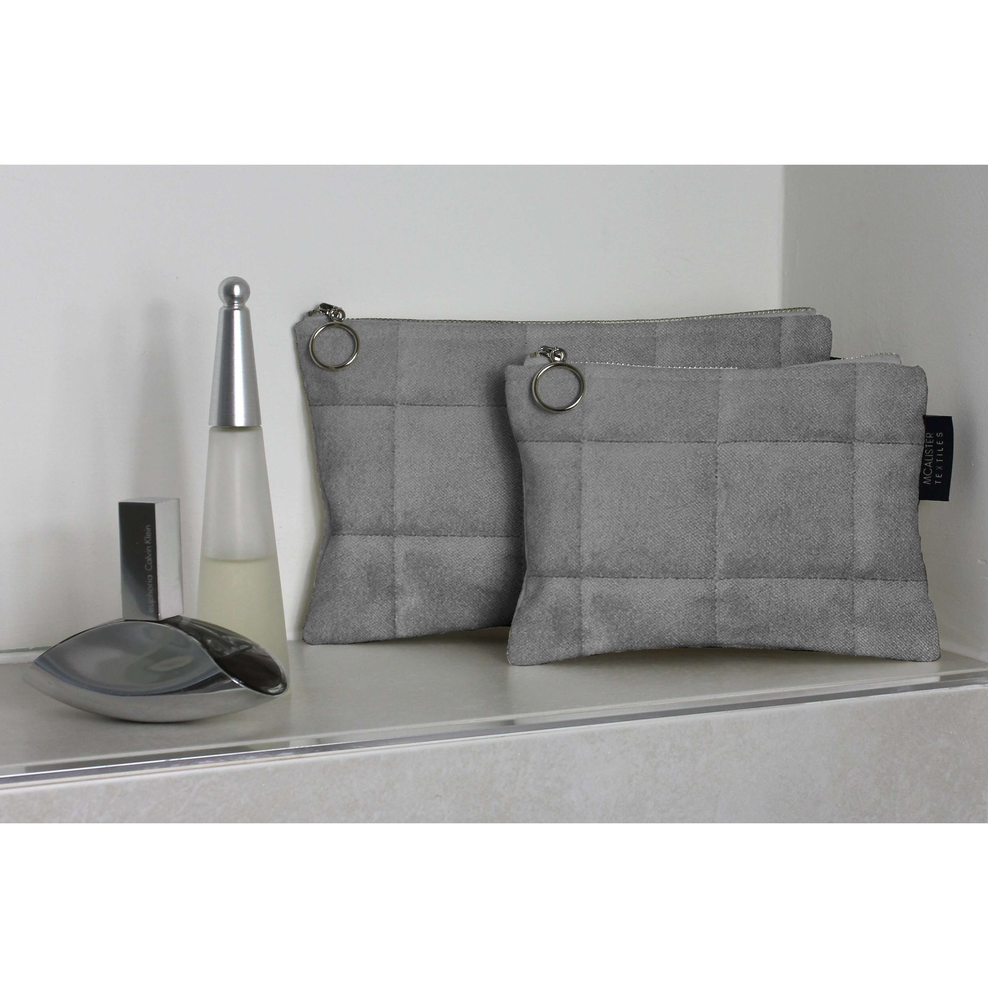 McAlister Textiles Square Pattern Silver Velvet Makeup Bag Set Clutch Bag