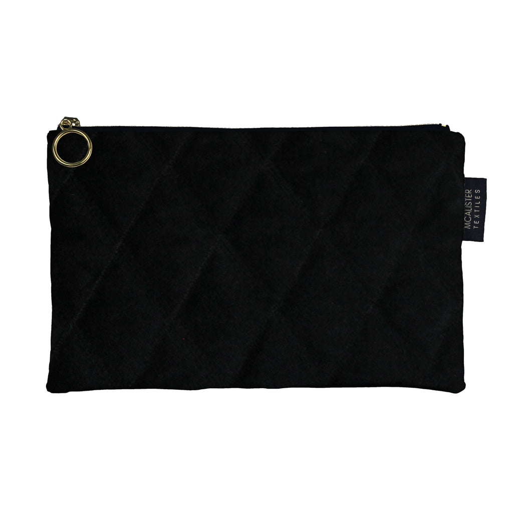 McAlister Textiles Diamond Pattern Black Velvet Makeup Bag - Large Clutch Bag