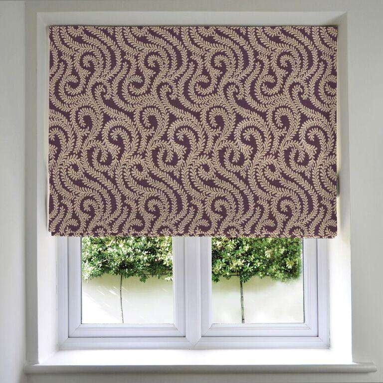 McAlister Textiles Little Leaf Aubergine Purple Roman Blinds Roman Blinds