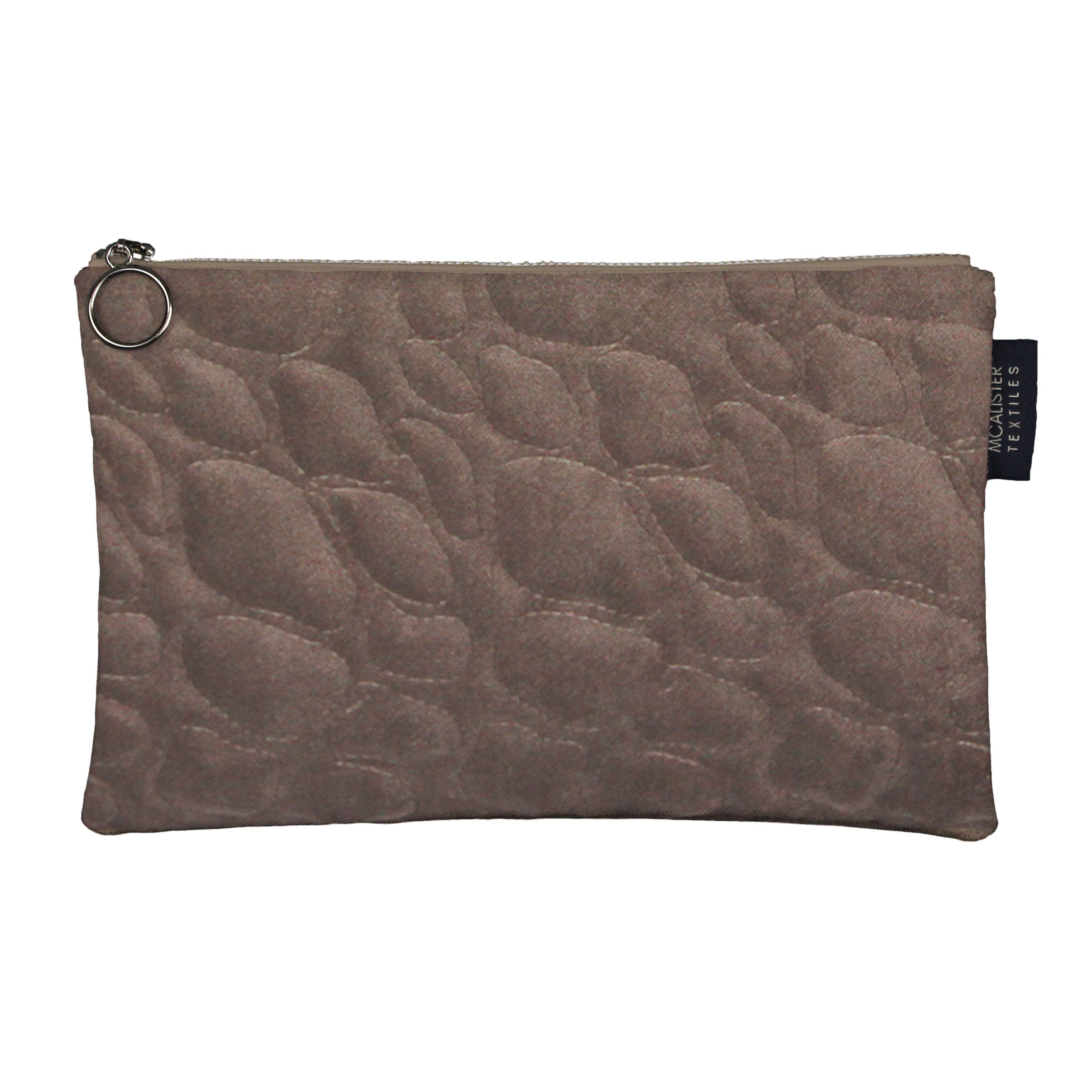 McAlister Textiles Pebble Pattern Mocha Velvet Makeup Bag Set Clutch Bag