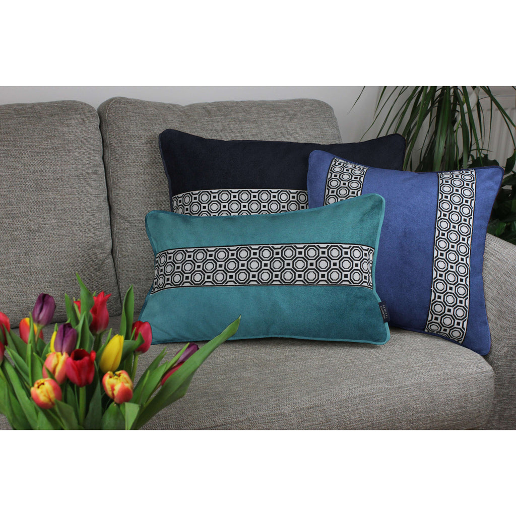McAlister Textiles Cancun Striped Navy Blue Velvet Cushion Cushions and Covers