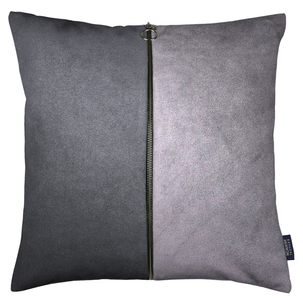 McAlister Textiles Decorative Zip Grey + Charcoal Velvet Cushion Cushions and Covers Cover Only 43cm x 43cm