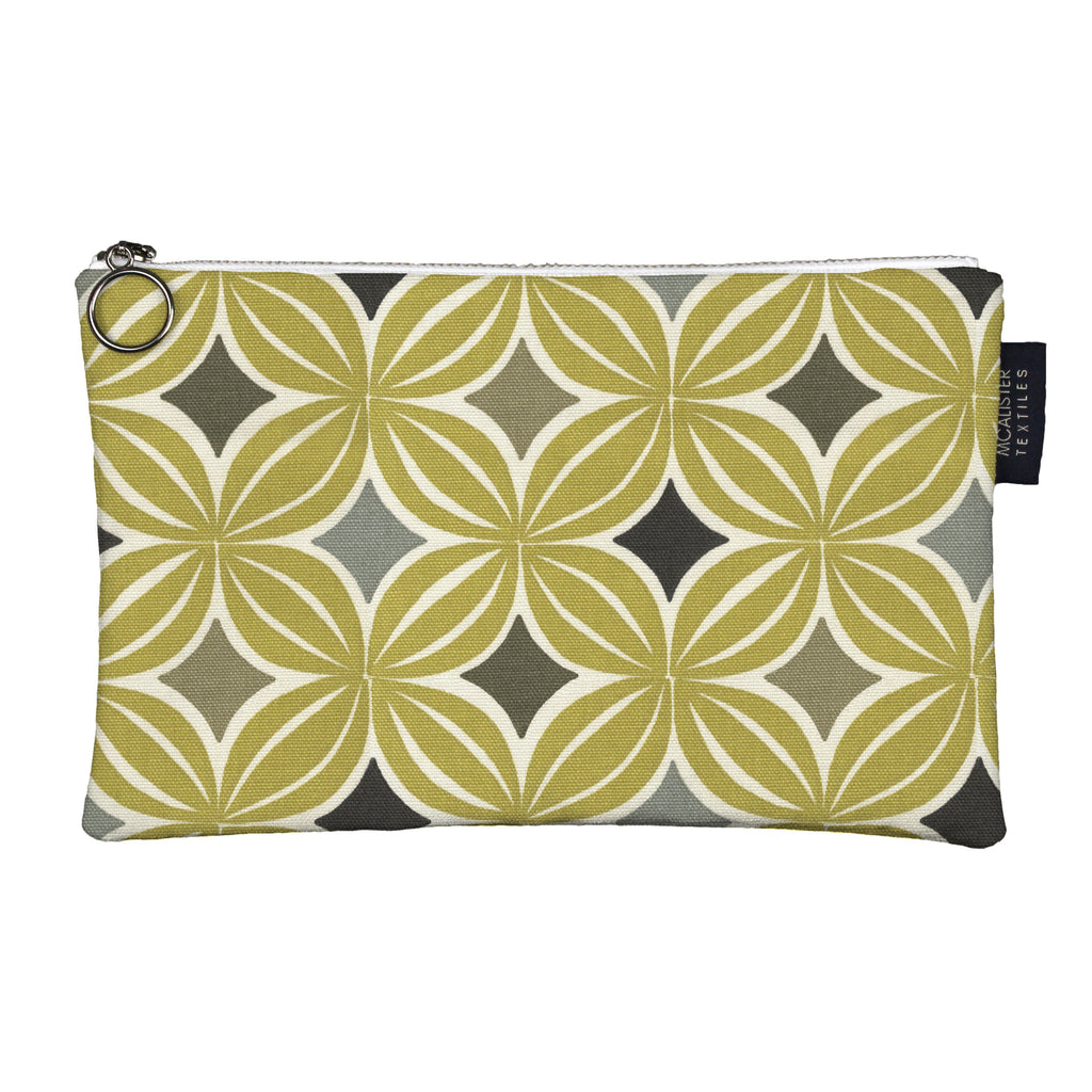 McAlister Textiles Laila Yellow + Grey Makeup Bag - Large Clutch Bag
