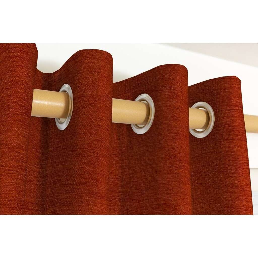 McAlister Textiles Plain Chenille Burnt Orange Curtains Tailored Curtains