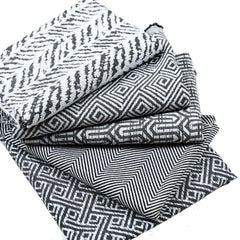 McAlister Textiles Costa Rica Geometric Boudoir Pillow - Black + White-Cushions and Covers-