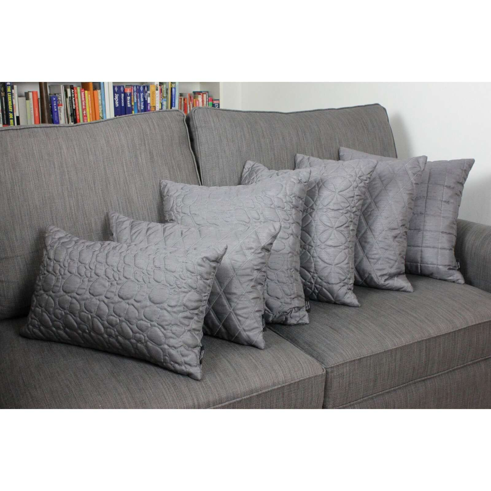 McAlister Textiles Rocco Pebble Quilted Charcoal Grey Silk Cushion Cushions and Covers