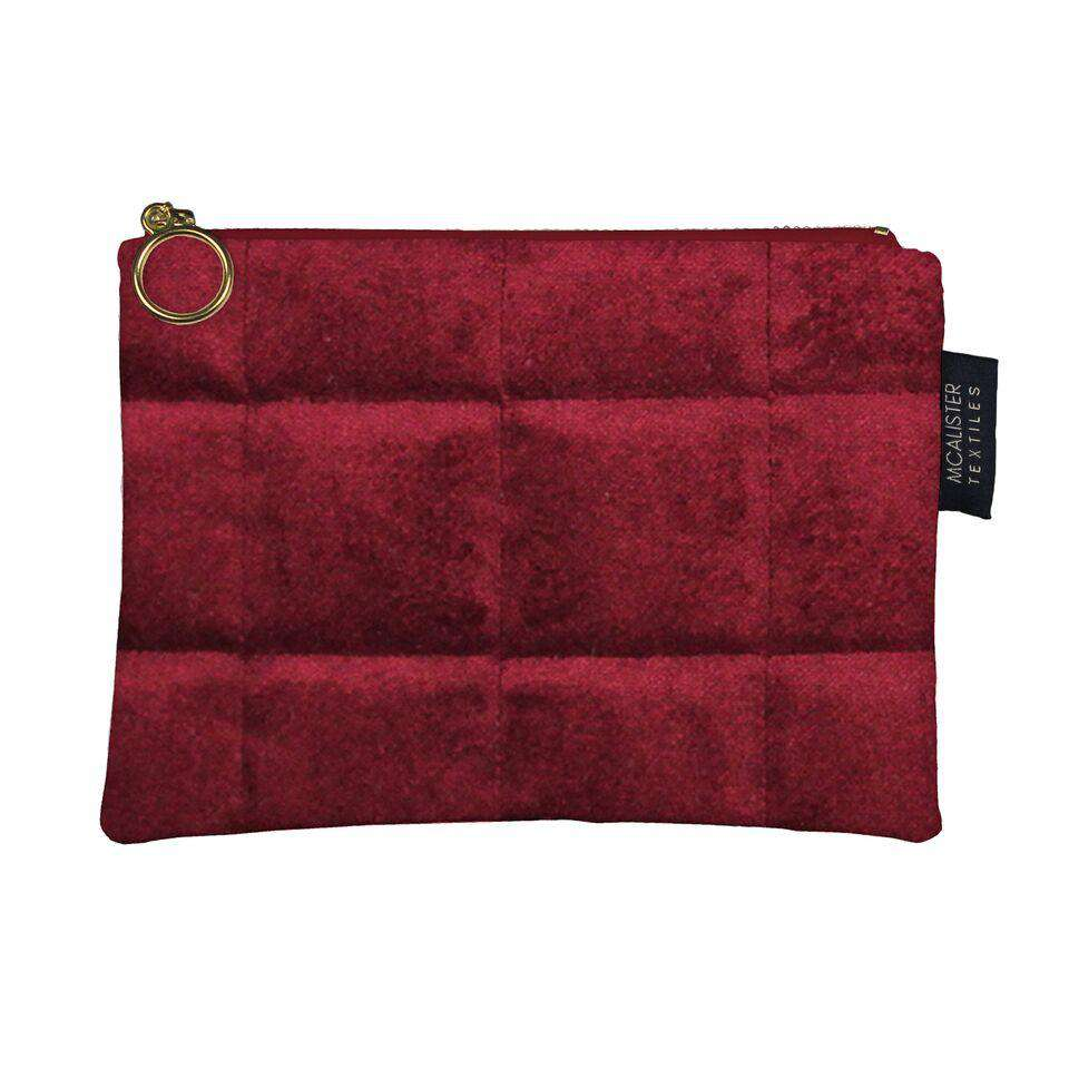 McAlister Textiles Square Pattern Red Velvet Makeup Bag Clutch Bag