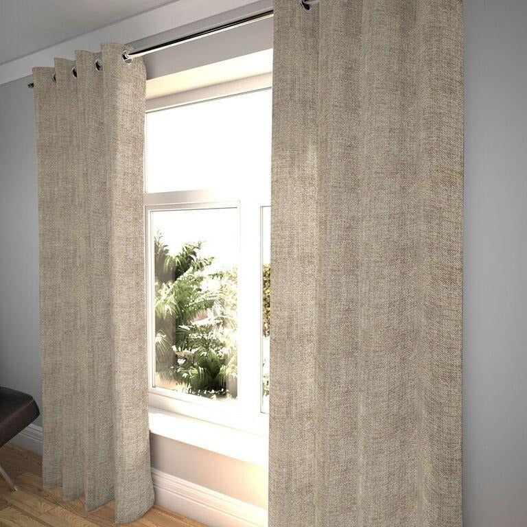 "McAlister Textiles Rhumba Taupe Beige Curtains Tailored Curtains 116cm(w) x 182cm(d) (46"" x 72"")"