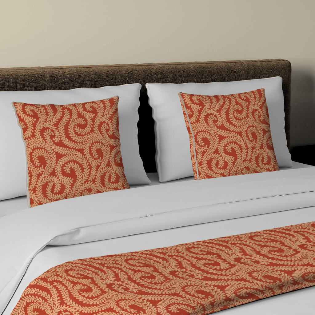 McAlister Textiles Little Leaf Burnt Orange Bedding Set Bedding Set Runner (50x240cm) + 2x Cushion Covers