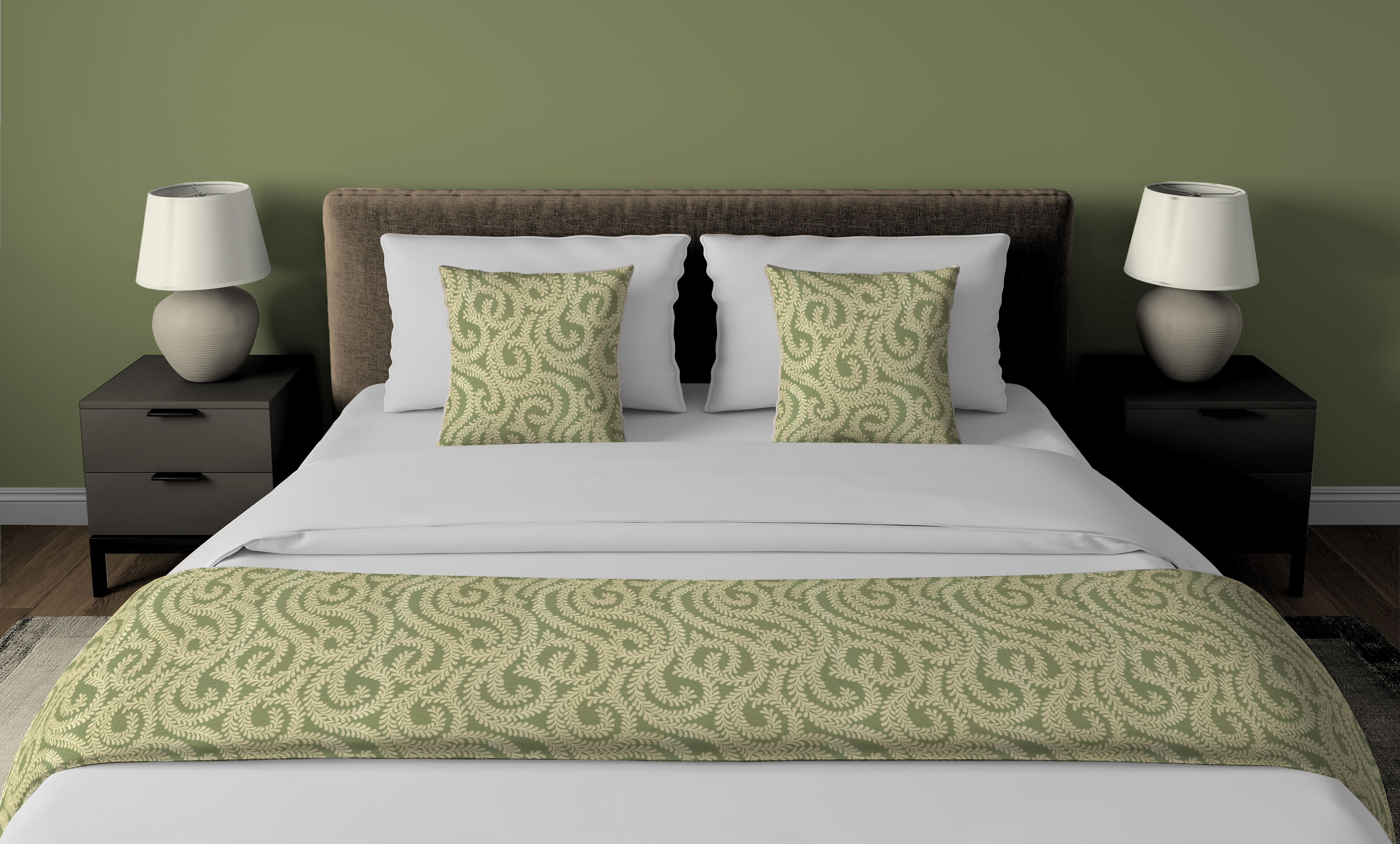 McAlister Textiles Little Leaf Sage Green Bedding Set Bedding Set