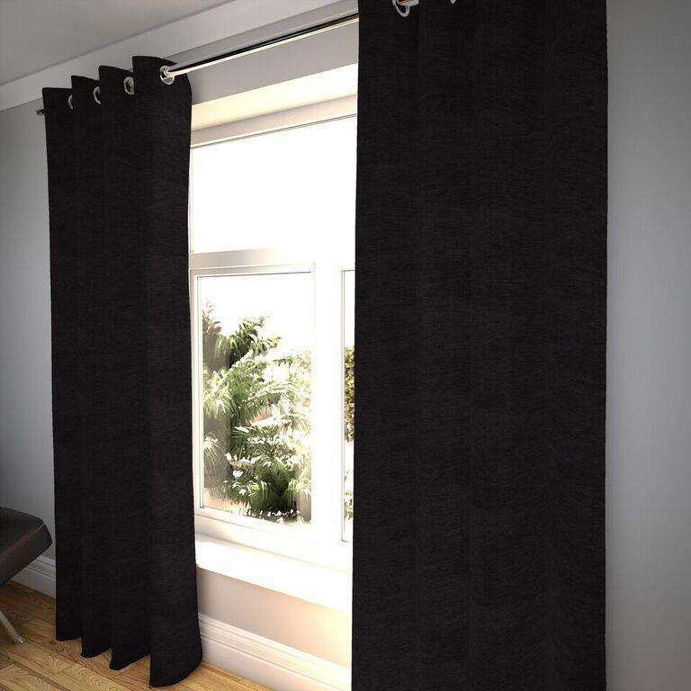 "McAlister Textiles Plain Chenille Black Curtains Tailored Curtains 116cm(w) x 182cm(d) (46"" x 72"")"
