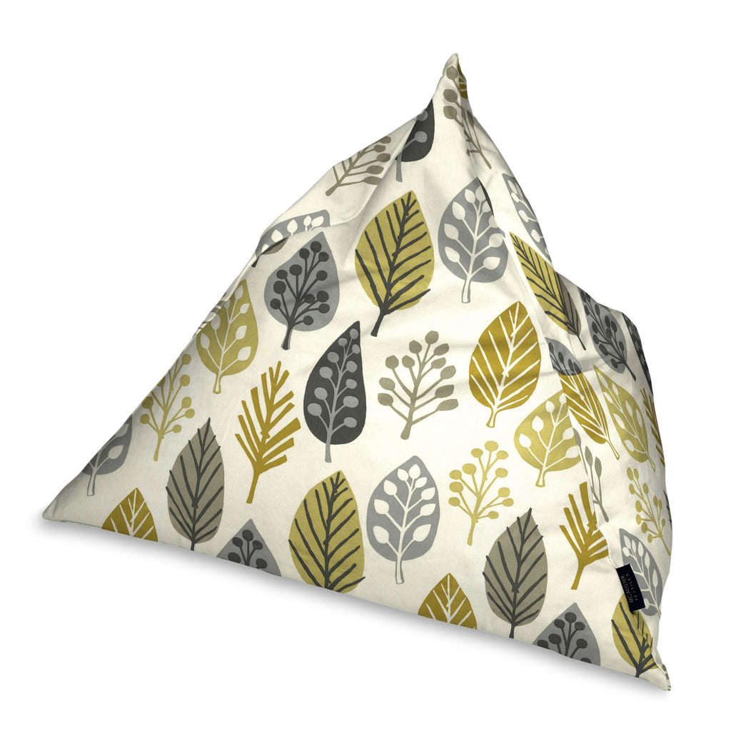 McAlister Textiles Magda Ochre Yellow + Grey Bean Bag Chair Bean Bag
