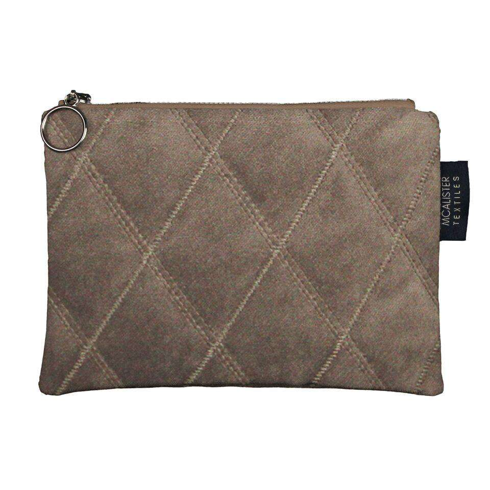 McAlister Textiles Diamond Pattern Mocha Velvet Makeup Bag Set Clutch Bag
