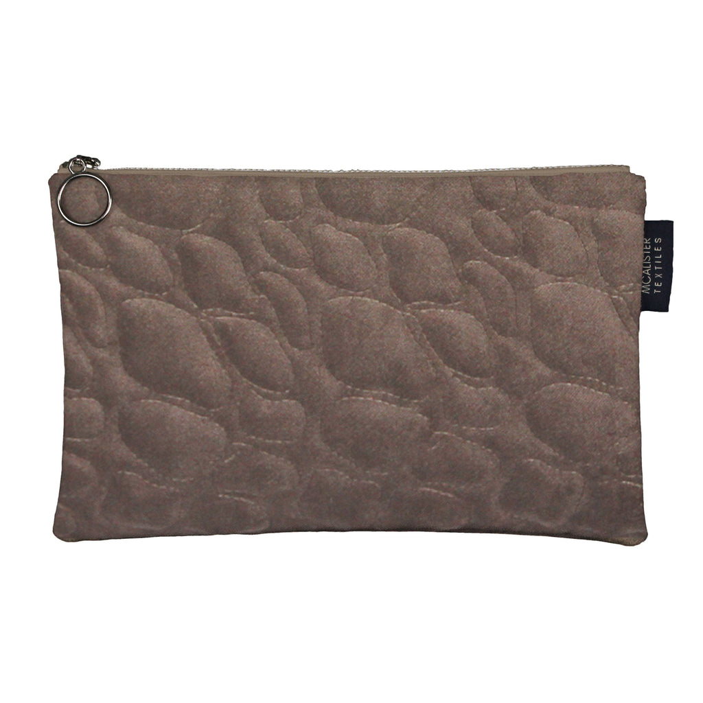 McAlister Textiles Pebble Pattern Mocha Velvet Makeup Bag - Large Clutch Bag