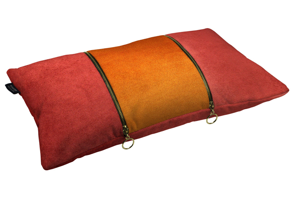 McAlister Textiles Decorative Double Zip Orange + Rust Red Velvet Pillow Pillow