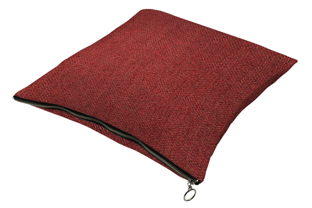 McAlister Textiles Herringbone Zipper Edge Red Cushion Cushions and Covers Cover Only 43cm x 43cm