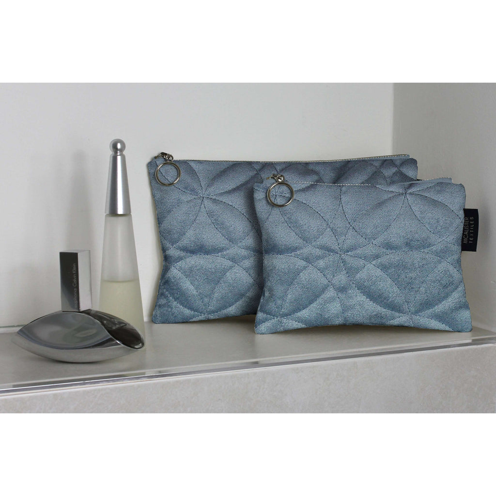 McAlister Textiles Circular Pattern Blue Velvet Makeup Bag Set Clutch Bag