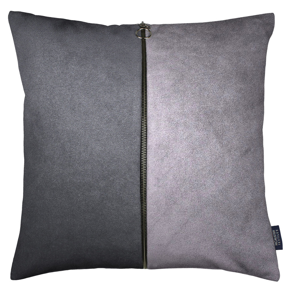 McAlister Textiles Decorative Double Zip Silver + Grey Velvet Pillow Pillow