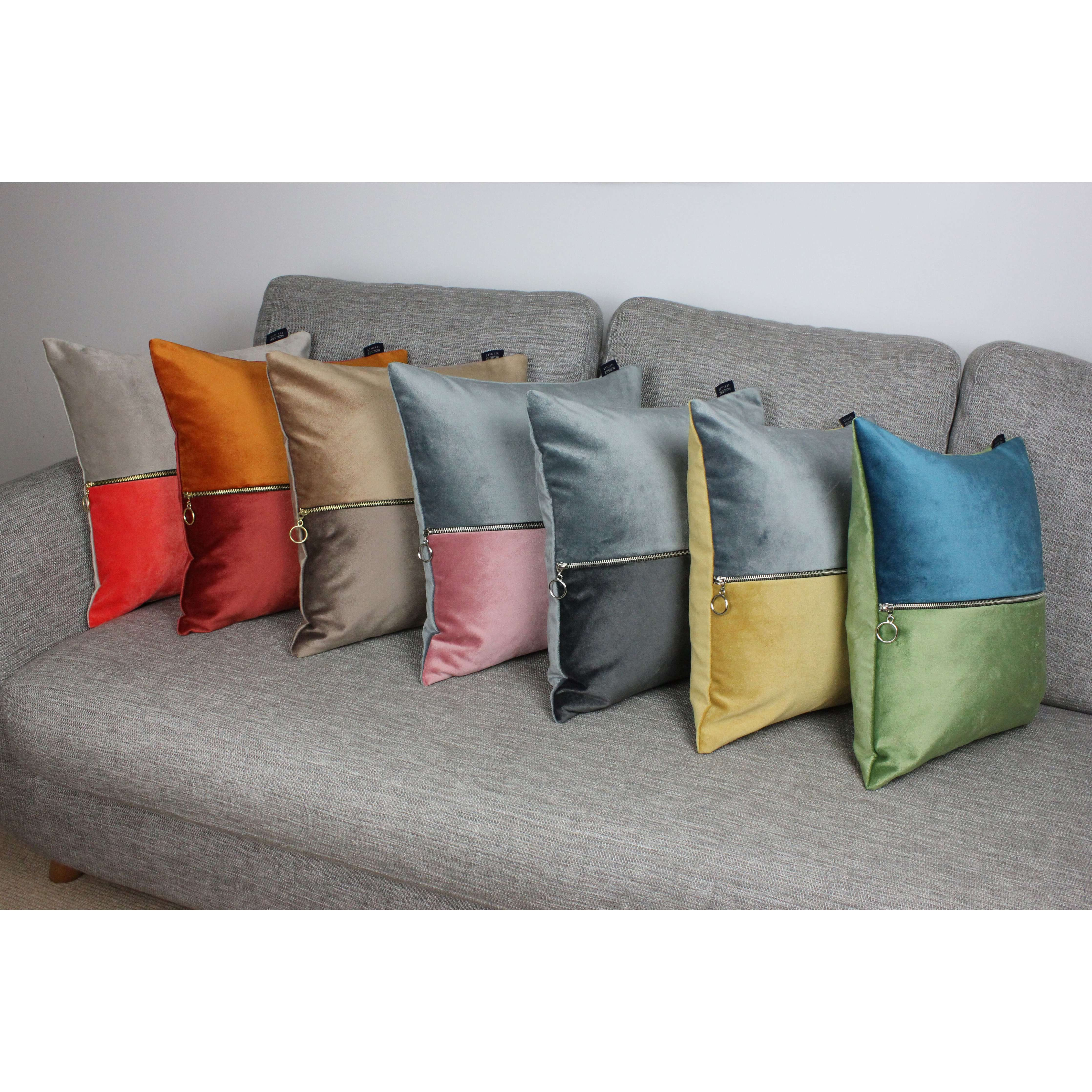 McAlister Textiles Decorative Zip Orange + Rust Red Velvet Cushion Cushions and Covers