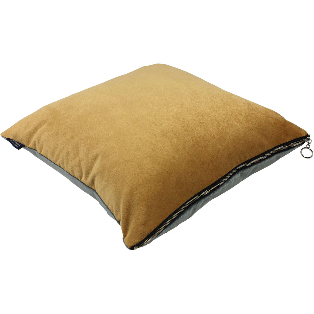 McAlister Textiles Decorative Zipper Edge Yellow + Grey Velvet Cushion Cushions and Covers Cover Only 43cm x 43cm