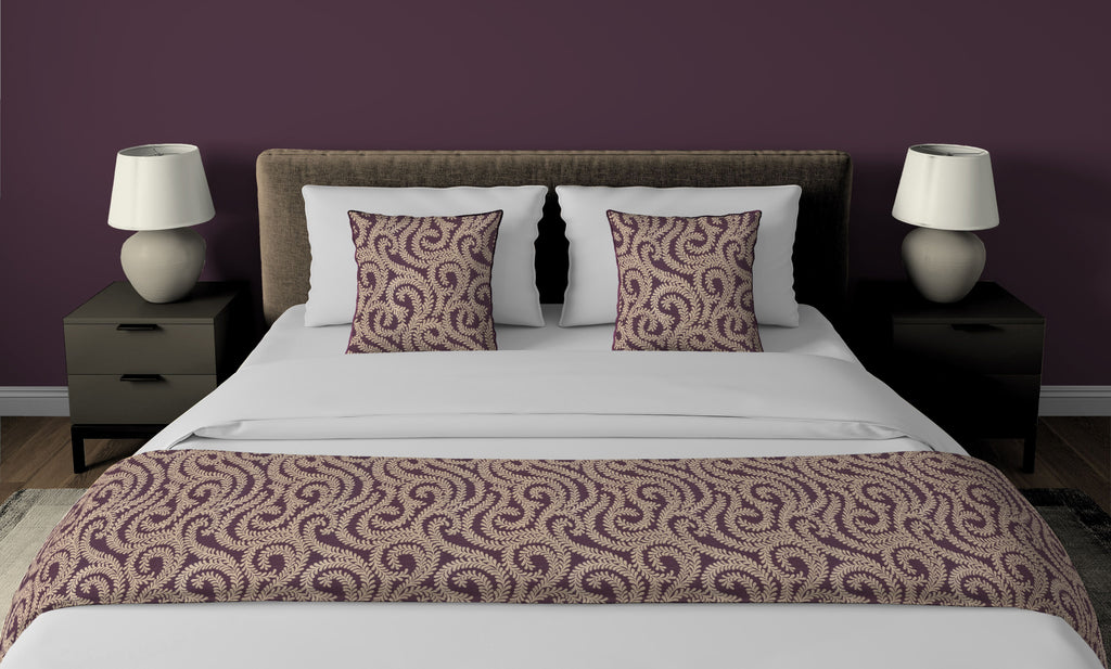 McAlister Textiles Little Leaf Aubergine Purple Bedding Set Bedding Set