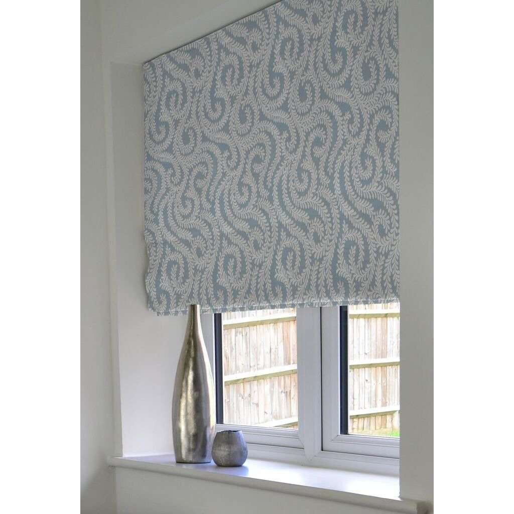 McAlister Textiles Little Leaf Wedgewood Blue Roman Blind Roman Blinds