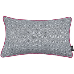 McAlister Textiles Acapulco Geometric Boudoir Pillow - Black + White-Cushions and Covers-