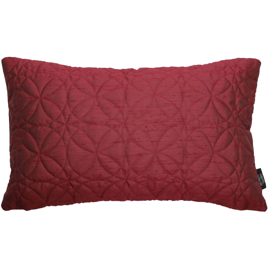 McAlister Textiles Rocco Round Quilted Wine Red Silk Pillow Pillow Cover Only 50cm x 30cm