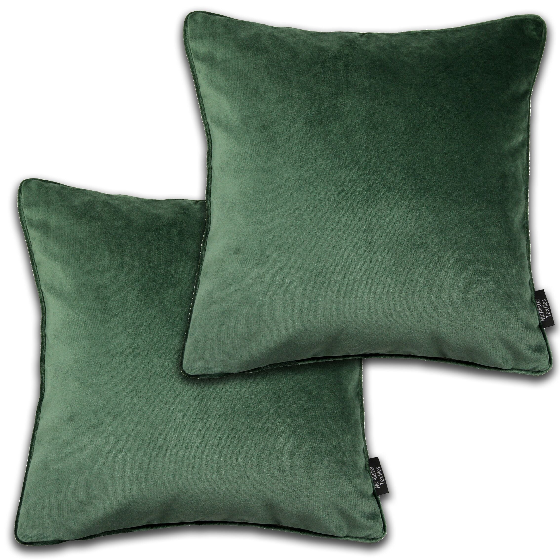 McAlister Textiles Matt Moss Green Velvet 43cm x 43cm Cushion Sets Cushions and Covers Cushion Covers Set of 2