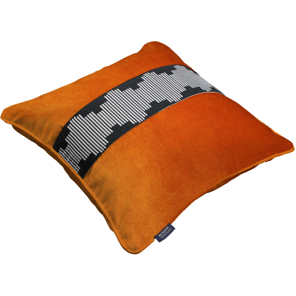 McAlister Textiles Maya Striped Burnt Orange Velvet Cushion Cushions and Covers
