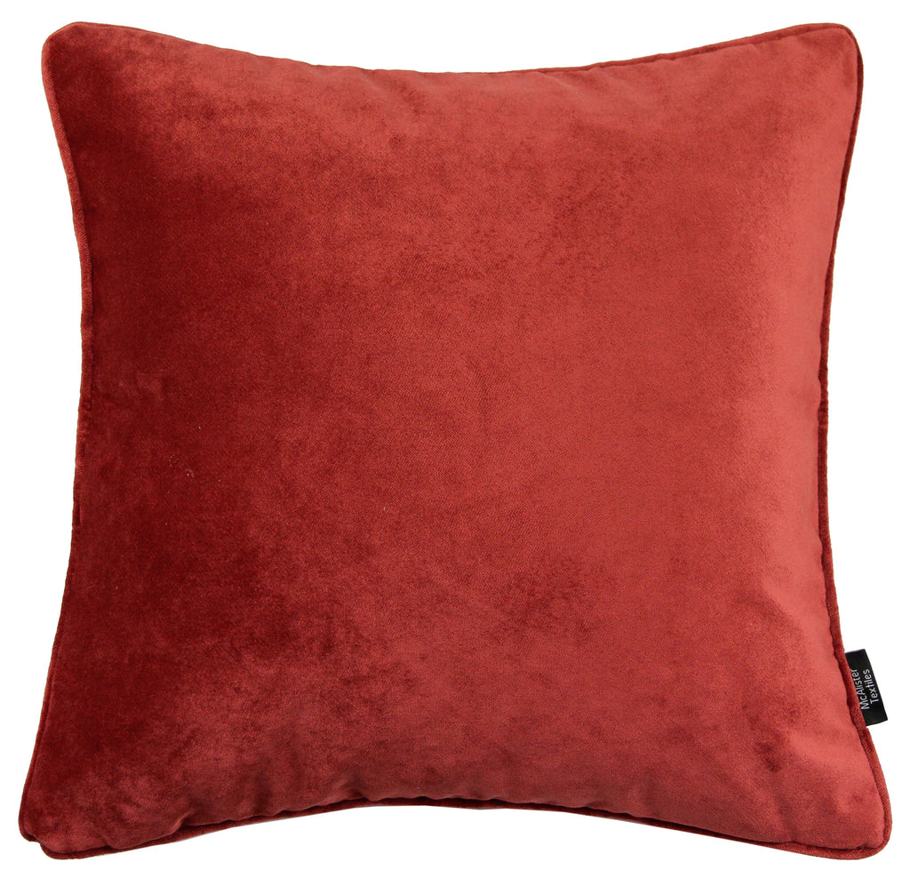 McAlister Textiles Matt Rust Red Orange Velvet 43cm x 43cm Cushion Sets Cushions and Covers