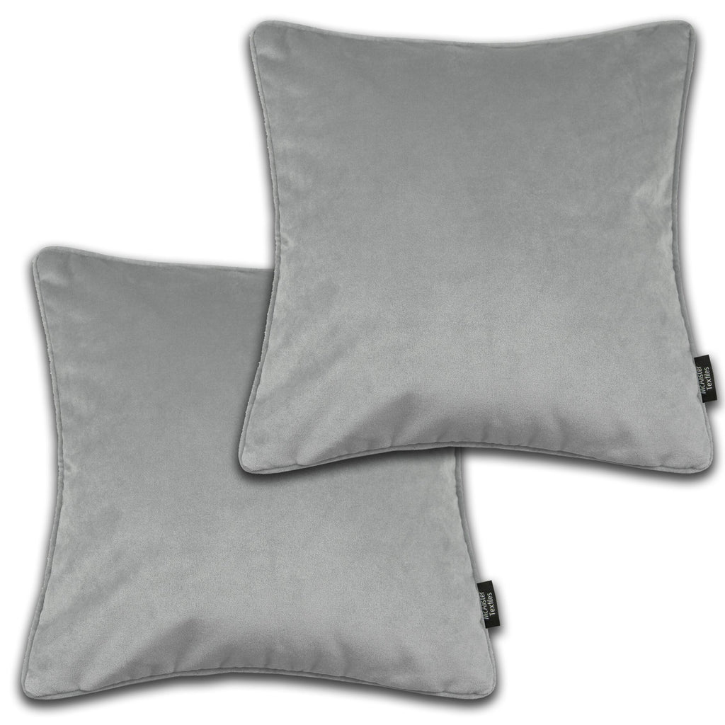 McAlister Textiles Matt Dove Grey Velvet 43cm x 43cm Cushion Sets Cushions and Covers Cushion Covers Set of 2