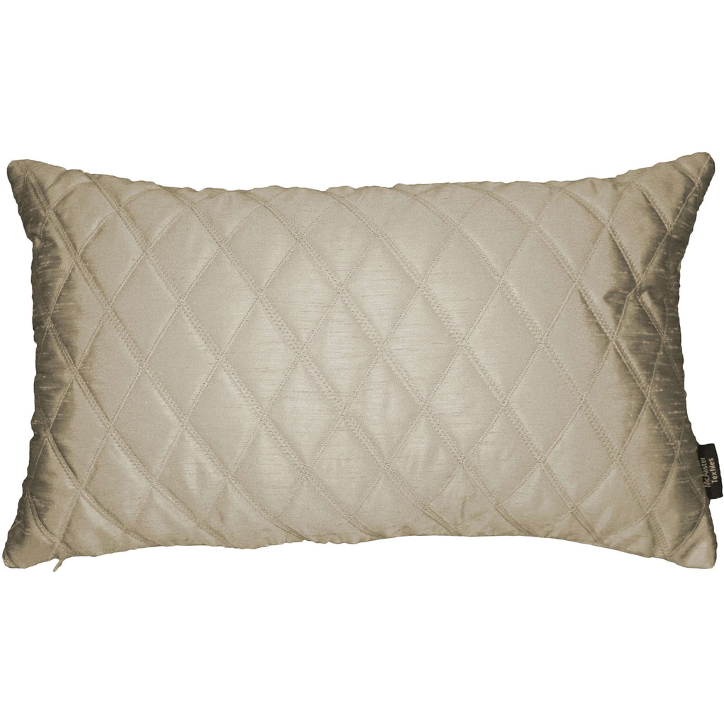 McAlister Textiles Rocco Diamond Quilted Taupe Silk Pillow Pillow Cover Only 50cm x 30cm