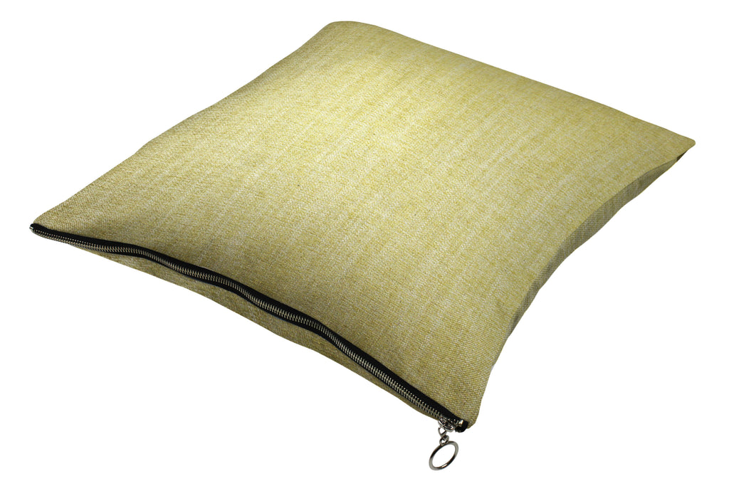 McAlister Textiles Rhumba Zipper Edge Yellow Linen Cushion Cushions and Covers Cover Only 43cm x 43cm