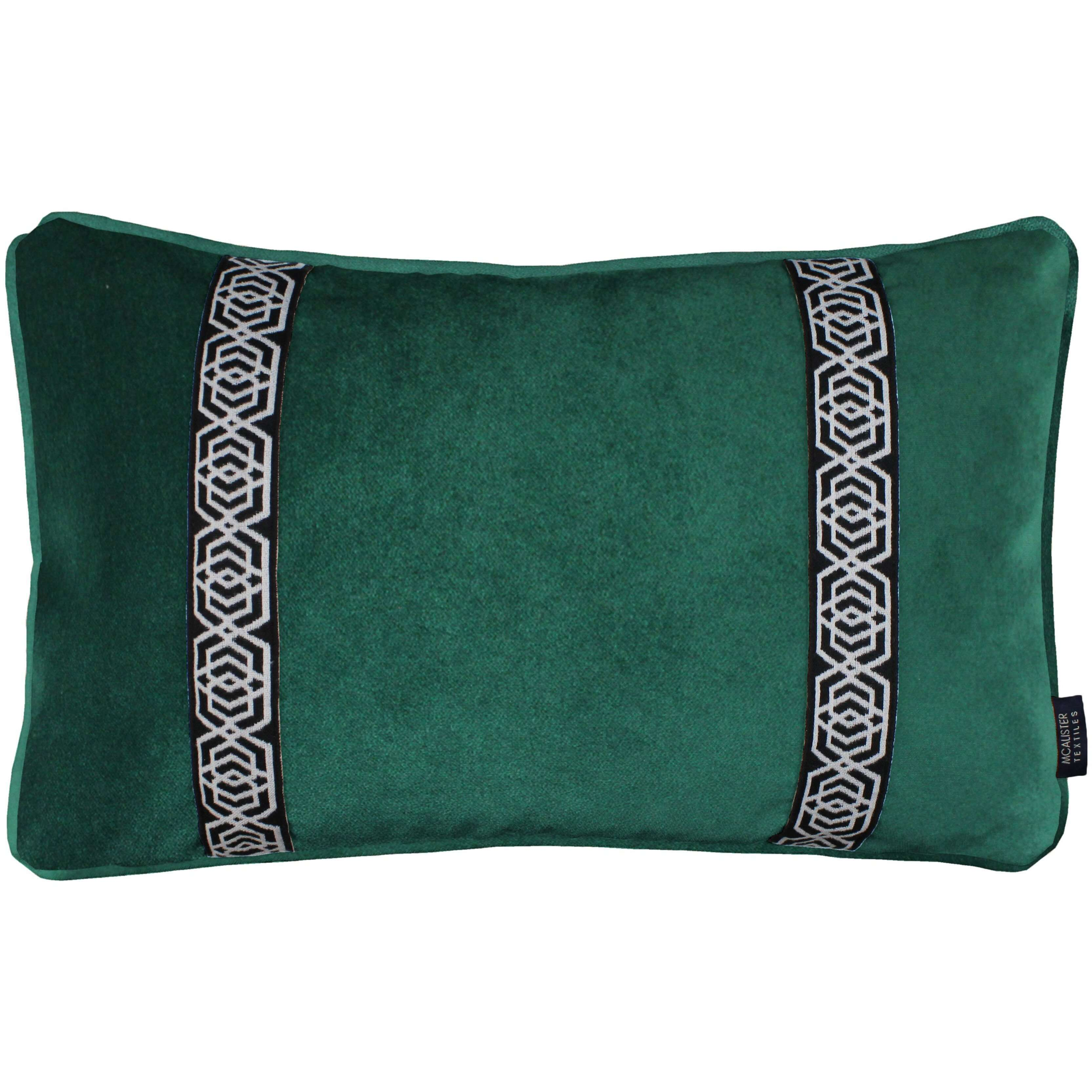 McAlister Textiles Coba Striped Emerald Green Velvet Cushion Cushions and Covers Cover Only 50cm x 30cm